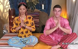 Asian yoga teacher licked and fucked