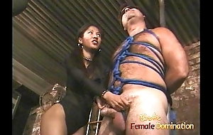 Lovely Asian bitch enjoys pleasuring romp together with blindfolded white stud